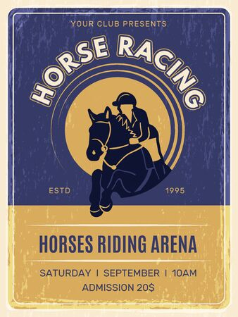 Equestrian poster. Horse domestic ride animals with jockey in helmet training club placard vector vintage template. Banner racehorse, racing championship on hippodrome illustration
