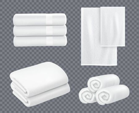 White towel. Hotel bathroom hygiene textile stacked beautiful fresh towels for washing room vector realistic sets. Towel bathroom for hotel or beach illustration