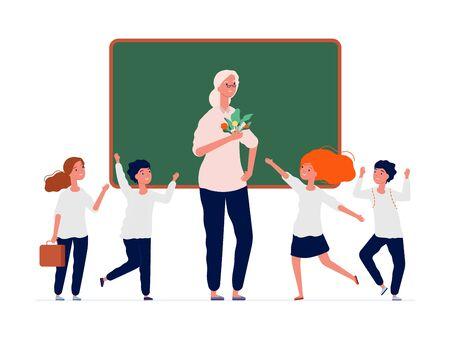Back to school. Happy teacher and preschool kids. Old college professor with cute students near blackboard vector illustration. Preschool teaching classroom, character teacher next blackboard
