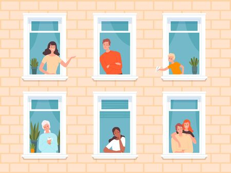 Window people. Happy neighbourhoods characters looking from windows frame in big house standing near walls and curtains. Vector persons happy in apartment, people neighborhood illustration Vector Illustratie