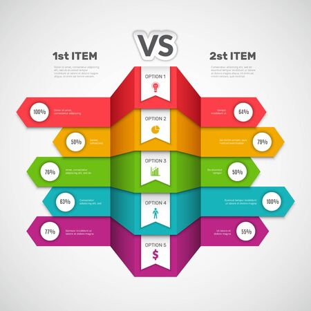Comparison infographic. Business chart with choice elements or products infotable versus arts vector compare graph. Infographic presentation comparison vs, info selection and compare illustration