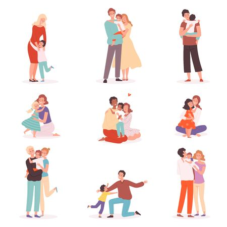 Family embrace. Happy parents hugging smiling kids comforted childhood mother kisses vector cartoon characters. Family hug, cheerful embrace together relationship illustration Illusztráció