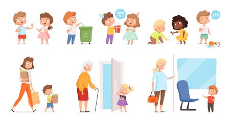 Behaving kids. Childrens with good manners helping to adult and otherness helpful respect vector characters. Manners and obedient, courteous and respectful, interaction politeness illustration