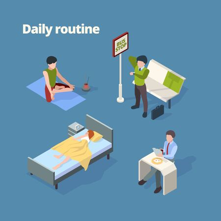 Daily routine. Day activities wake up breakfast shower work watching tv sleep vector isometric persons. Routine everyday daily, character life illustration 向量圖像
