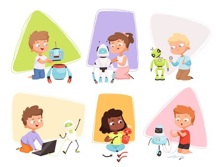Kids and robots. Children programming coding smart toys repair research educational process future technology vector characters. Children smart project, engineer and robot technology illustration