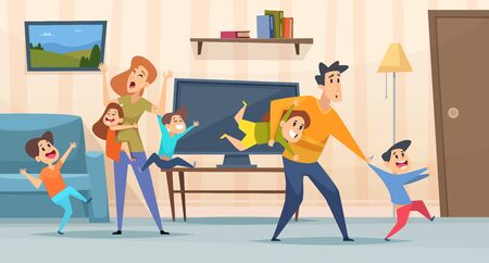 Tired parents. Mother and father playing with kids in living room interior screaming children depressed family vector background. Father and mother with naughty kids illustration