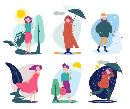 Woman weather. Seasonal people walking with umbrella summer cold rainy shiny windy outdoor vector person. Illustration season summer and spring, autumn and winter