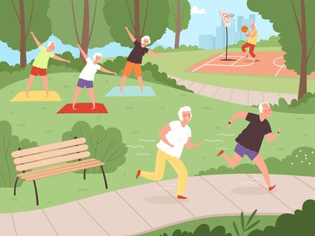 Elderly park activity. Older people grandparents walking in urban park healthy lifestyle of happy senior recreation exercises vector. Senior old grandmother and father running illustration