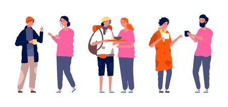 Volunteers activity. Homeless poor people and helpers. Kind woman man, humanitarian aid and free food vector illustration. Volunteer and poor homeless people, character female help