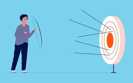 Unattainable goal metaphor. Guy missed center of target, failure vector illustration. Unattainable goal and business aim, archery target metaphor inaccurate
