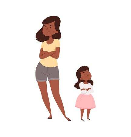 Angry people. Mother and daughter in quarrel. Afroamerican sad adult female and baby girl. Isolated family vector illustration. Daughter and mother conflict, woman and girl
