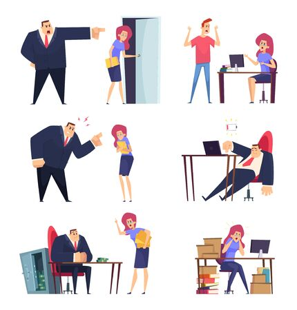 Burnout job. Problem at work overwhelmed sleepy lazy managers stressed stuff angry boss tired characters vector people. Illustration character employee tired in office, business angry boss