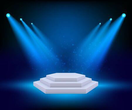 Spot lighting podium. Theatre studio awards platform exhibition floor geometrical stages vector background. Light podium show, platform scene, studio with floodlight illustration