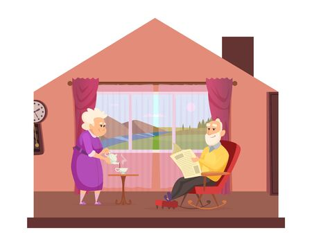 Cozy domestic lifestyle. Elderly couple drink tea, cute seniors stay home concept. Cartoon grandparents safe in isolation period vector illustration. People woman abd man elderly, family couple