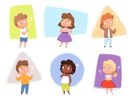 Enfants pensants. Les enfants posent des questions à l'expression et aux points d'interrogation des personnages vectoriels des adolescents. Enfants posant des questions, expression confuse, perplexe et confus illustration d'enfants
