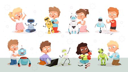 Kids robot programming. Future technology educational process children modelling or repair robotic toys vector science concept characters. Kid programming cyborg, robotic technology illustration