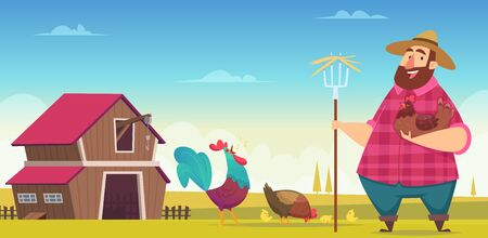 Chicken farm. Eco hens and roosters breeding industry domestic birds production vector cartoon background. Chicken farm, countryside farming illustration Illusztráció