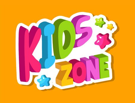Kids zone 3d lettering, banner for baby playing area with colorful letters and stars vector illustration. Preschool kindergarten room, banner signboard