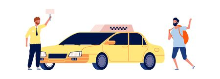 Driver and traveler. Tourist catches taxi, man stop yellow car. Travel or city tour, taxi service vector illustration. Taxi driver and tourist travel isolated