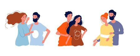 Young happy couples. Man woman hugging together, isolated cartoon teens in love. Dating or friends meeting, friendship vector illustration. Romantic girlfriend and boyfriend, happiness female and male