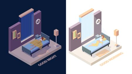 Wake up girl. Joyful happy woman in bed sleep in night and stretching hands in morning vector wake up isometric people. Illustration woman good morning, happy young girl awake