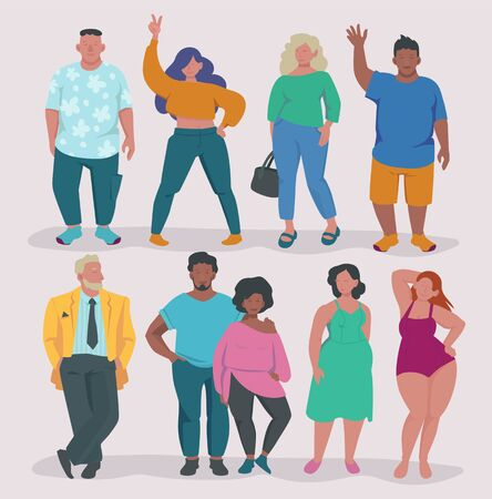 Fatty lifestyle. Fat male and female characters attractive overweight people group body positive vector concept illustrations. Overweight attractive character, body positive obesity