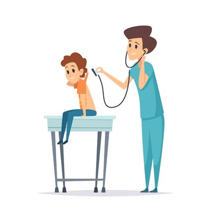 Pediatrician diagnosis. Boy visit doctor, hospital patient. Flat child with nurse, health protection or kids flu prevention vector illustration. Pediatrician diagnosis child, health checkup patient