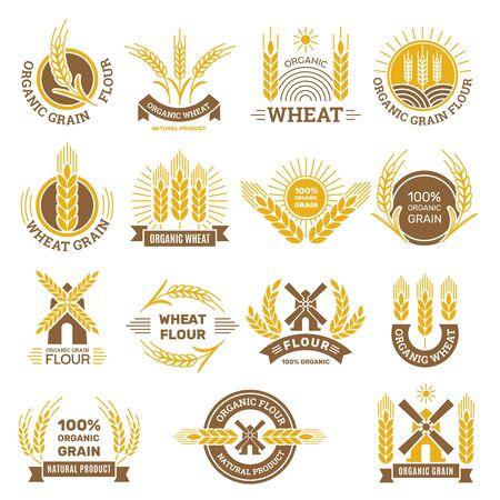 Wheat grain logo. Flour farm food for breakfast shop harvesting wheat traditional products vector badges set. Organic harvest natural, seed farming and grain illustration Illusztráció