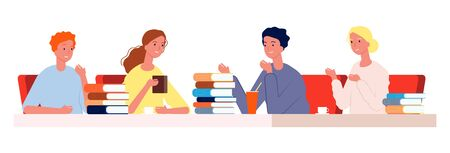 Reading club. Young people meeting cafe with books. Students prepare to exam together vector illustration. Education and read literature, knowledge learning Banco de Imagens - 150372377