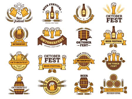 Oktoberfest logo. Traditional beer festival emblems with alcoholic drinks pictures lager pub vector elements template. Beer alcohol drink, emblem festival oktoberfest. Vector illustration
