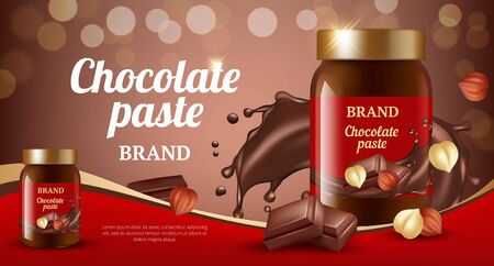 Chocolate cream ads. Delicious sweet brown paste flowing eat product vector realistic promotional placard. Sweet dessert, chocolate paste splash illustration