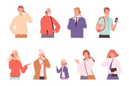 Phone dialogue. Talking people male and female conversation calling characters speaking persons vector illustration. Communication woman and man, female and male Ilustrace