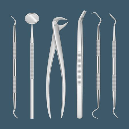 Dentist tools. Medical items for close up inspecting tooth hospital dental clinic professional hygiene in metal instruments vector realistic pictures. Illustration dentist mirror, dentistry equipments