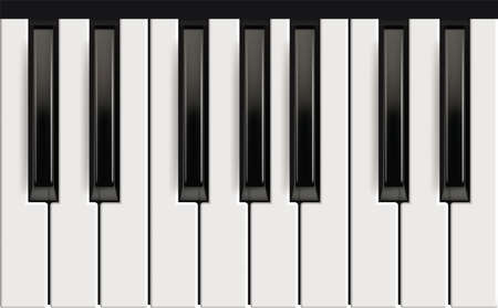 Piano keys. Realistic musical instrument for jazz band white and black keys with reflection effects vector picture. Piano octave, acoustic instrument, keyboard black white classic illustration