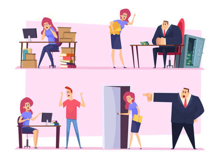 Burnout work. Business manager stuff lazy working angry boss bad atmosphere disrespectful employee nervous persons vector characters. Lazy person, businessman character burnout illustration