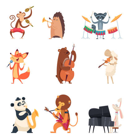 Animals with music instruments. Zoo musicians entertainment cute vocal song music band vector cartoon characters. Panda and hedgehog with instrument, lion musical playing illustration