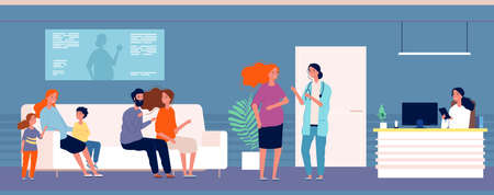 Pregnant women at doctor. Queue to gynecologist office, women with children and husband, expectant mothers vector illustration. Pregnant woman healthcare in hallway, healthy patient Çizim