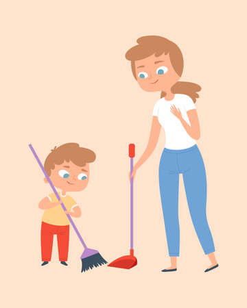 Sweep the floor. Mother and son with broom. Family time, cleaning home vector illustration. Cleaning and housekeeping together