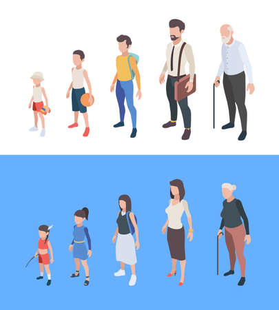 Generations persons. Male and female characters boys and girls man woman mother father seniors vector generation of peoples. Process growing and aging, development generation illustration