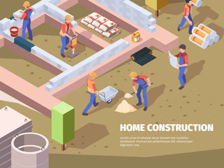 Workers foundation building. Architects and builders construct house engineers working vector isometric background. Construction and foundation, worker working on site illustration Ilustracja