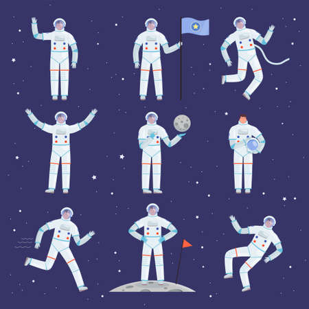 Astronauts characters. Spaceman people in action poses overall professional clothes suit vector cosmonaut. Suit costume, spaceman character in helmet illustration Illusztráció