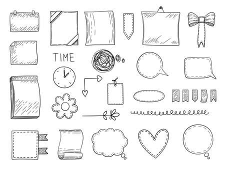 Bullet journal. Hand drawn frames borders and dividers notes templates for personal notebooks graphics vector elements. Doodle sketch page and divider for copybook illustration