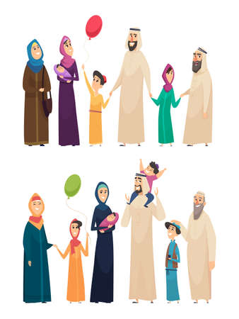 Muslim family. Big arabic happy family saudi people father mother boys girls elders vector characters. Arab muslim together, father and mother husband and wife illustration