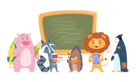 School animals. Back to school cartoon characters. Cute students lion, raccoon, hedgehog with books and bags standing near chalkboard vector illustration. School animal with books, pupil students