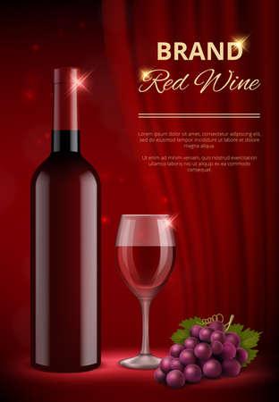 Wine ads. Alcohol promo advertizing placard with red bottles and liquid wine splashes with drops vector realistic template. Red drink alcohol, wine bottle beverage poster illustration Ilustrace
