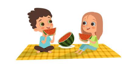 Watermelon season. Boy girl eat watermelon. Summer outdoor activity, friendly picnic on plaid vector illustration. Recreation character eating watermelon, children romance Vetores
