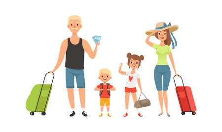 Family tourists. Man woman children with baggage. Isolated travelers go on vacation vector illustration. Man and woman family tourist with kids in airport with baggage