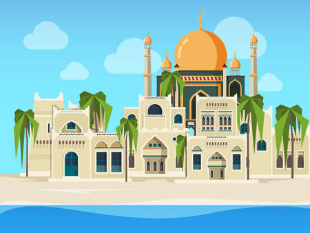 Arabic landscape. Cultural muslim buildings desert background with arabic architectural objects vector illustration in flat style. Building muslim architecture, arabic culture traditional