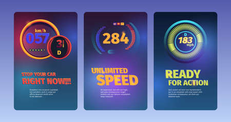 Speed banners. Racing cars abstract illustrations with speedometers and fuel indicators dashboard vector colored backgrounds. Illustration measurement speeding, dashboard meter unlimited 向量圖像