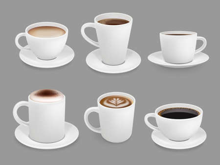 Coffee cup collection. Hot drinks with foam and steam smelling beverage top view cup with liquids coffee espresso and cappuccino vector. Coffee and cappuccino, espresso hot drink illustration